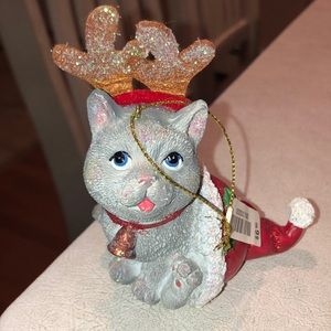 Grey kitten in stocking w/antlers ornament NWT